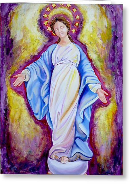Our Lady Of The Smile Version One Greeting Card by Sheila Diemert