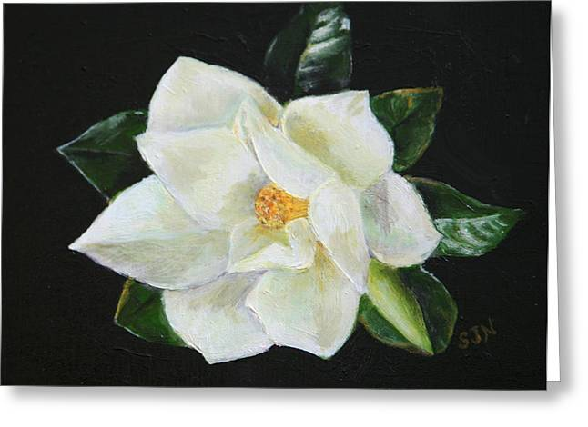 Greeting Card featuring the painting Our Magnolia by Sandra Nardone