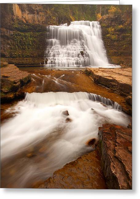 Greeting Card featuring the photograph Ousel Falls by Aaron Whittemore