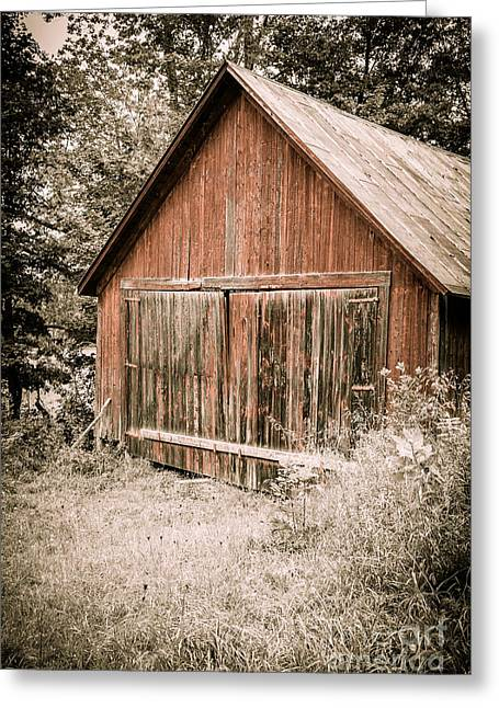 Out By The Woodshed Greeting Card by Edward Fielding