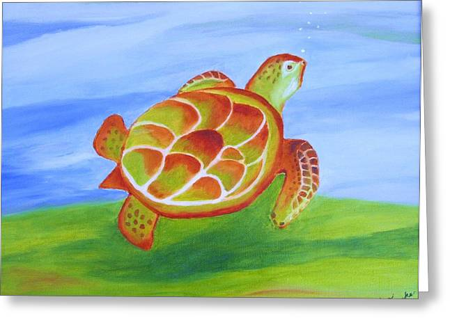 Out For A Swim Greeting Card by Edna Fenske