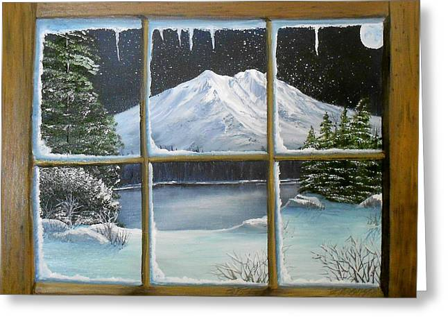 Out My Window-bright Winter's Night Greeting Card