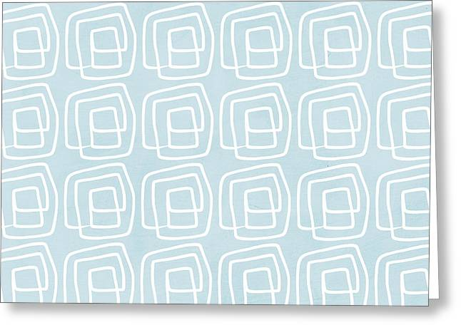 Out Of The Box Blue And White Pattern Greeting Card by Linda Woods
