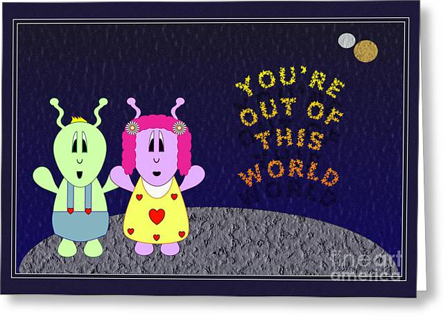 Greeting Card featuring the digital art Out Of This World by JH Designs