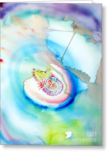 Greeting Card featuring the painting Deep Blue by Mukta Gupta