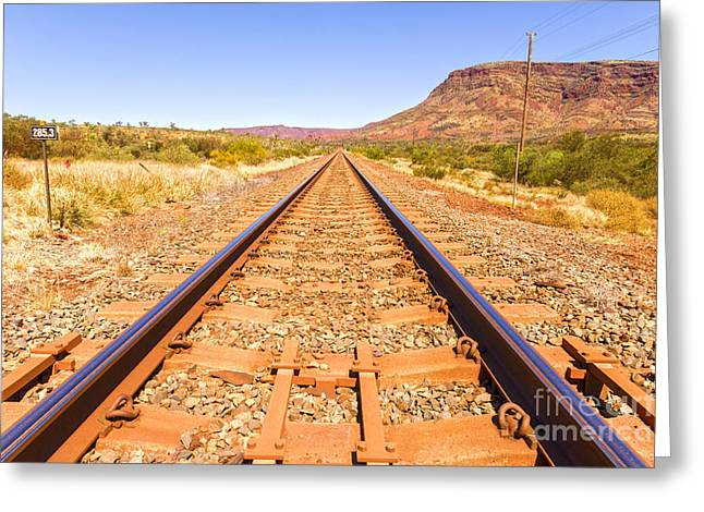 Outback Railway Track And Mount Nameless Greeting Card by Colin and Linda McKie