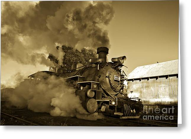 Angry Iron Horse Greeting Card by Robert Frederick