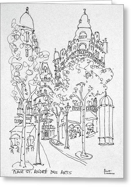 Outdoor Cafes Along Place St Greeting Card