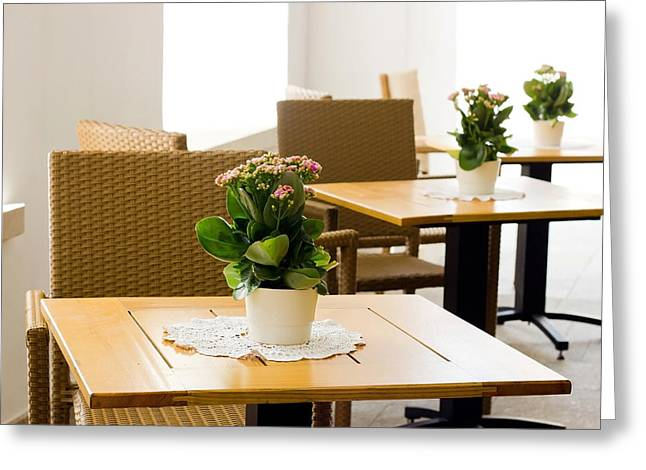 Outdoor Dining Tables Greeting Card by Pati Photography