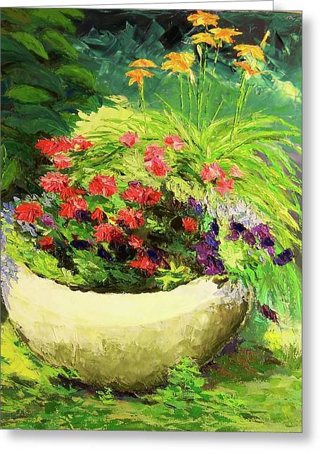 Outdoor Flower Pot  Greeting Card by Nicolas Bouteneff