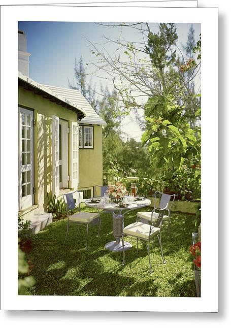 Outdoor Furniture At Shoreland House Greeting Card