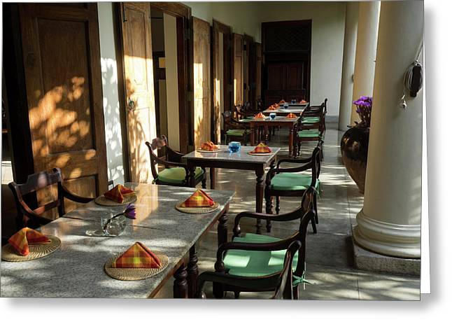 Outdoor Tables, Galle Fort Hotel Greeting Card by Panoramic Images