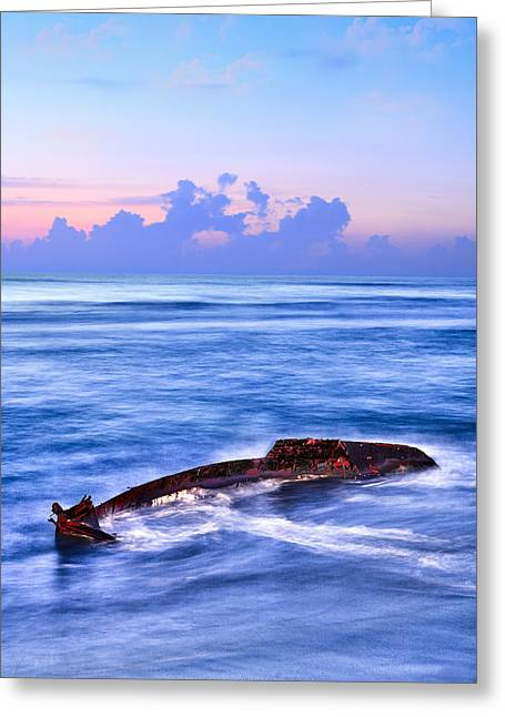 Outer Banks - Beached Boat Final Sunrise II Greeting Card by Dan Carmichael