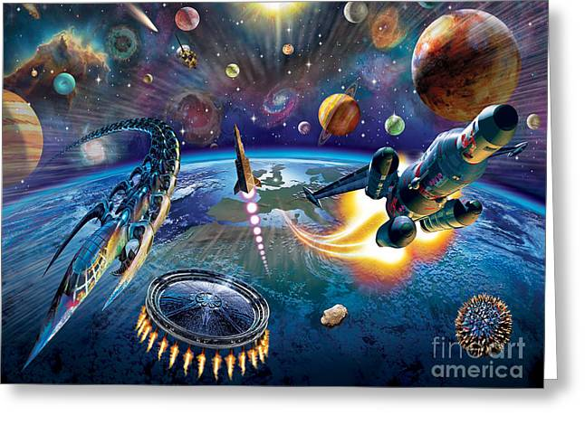 Outer Space Greeting Card by Adrian Chesterman
