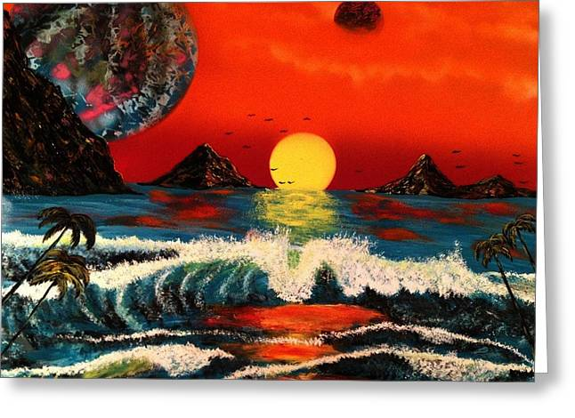 Greeting Card featuring the painting Outer Worlds by Michael Rucker