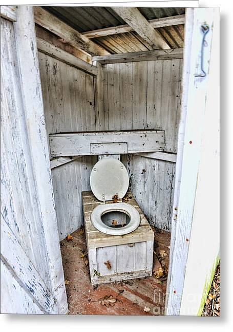 Outhouse A Look Inside Greeting Card by Paul Ward