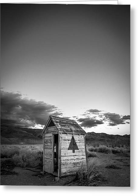 Outhouse And Moon Greeting Card by Cat Connor