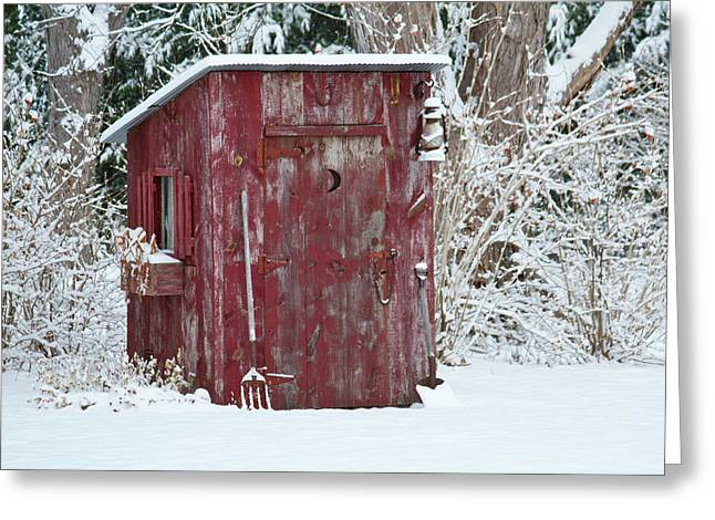 Outhouse Garden Shed In Winter, Marion Greeting Card by Panoramic Images