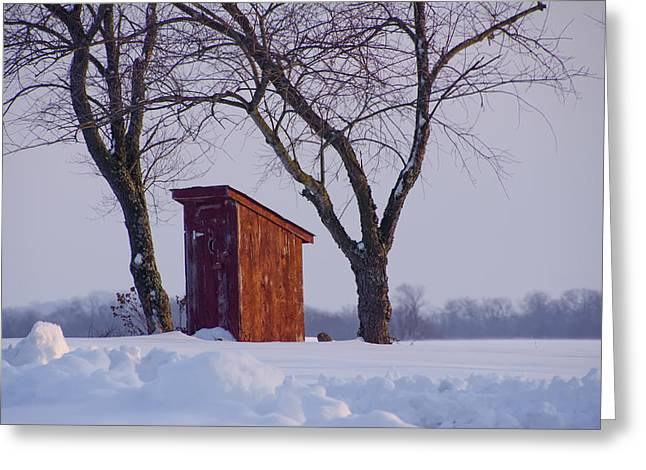 Outhouse In The Snow Greeting Card by Bill Cannon