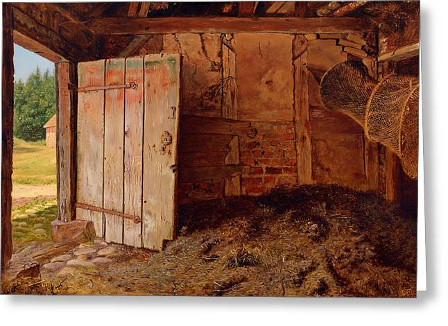 Outhouse Interior Greeting Card