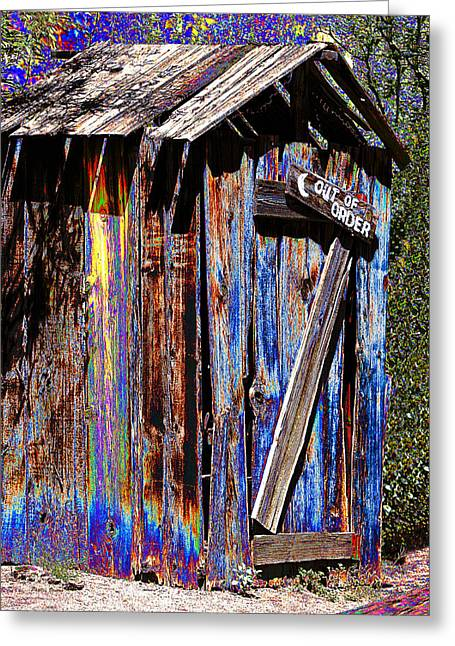 Outhouse Pop Art Greeting Card by Phyllis Denton
