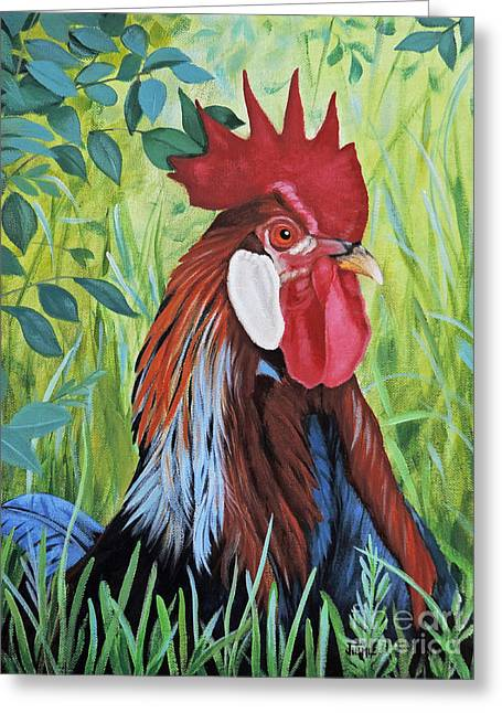 Outlaw Rooster Greeting Card by Jimmie Bartlett
