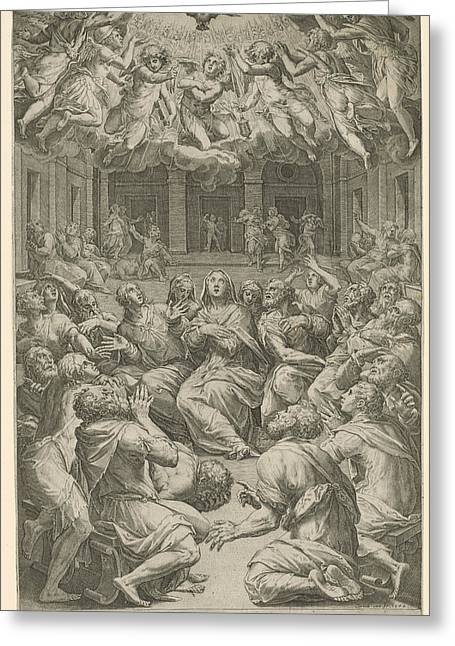 Outpouring Of The Holy Spirit, Cornelis Cort Greeting Card