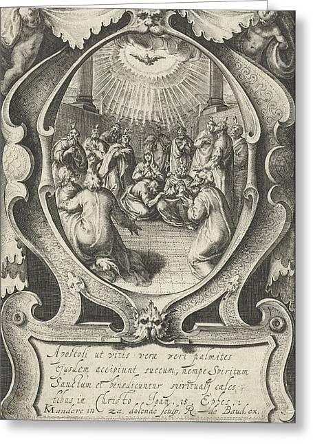 Outpouring Of The Holy Spirit, Zacharias Dolendo Greeting Card by Zacharias Dolendo And Robert De Baudous