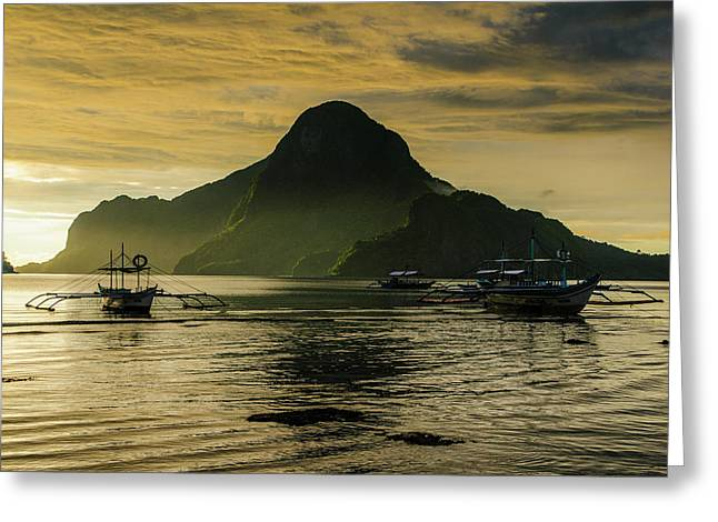Outrigger At Sunset In The Bay Of El Greeting Card by Michael Runkel