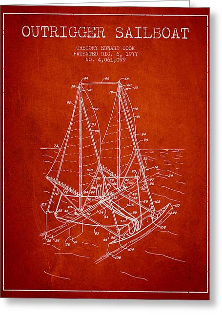 Outrigger Sailboat Patent From 1977 - Red Greeting Card
