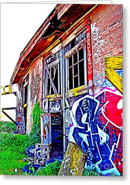 Outside An Entrance To The Old Train Roundhouse At Bayshore Near San Francisco Altered  Greeting Card by Jim Fitzpatrick