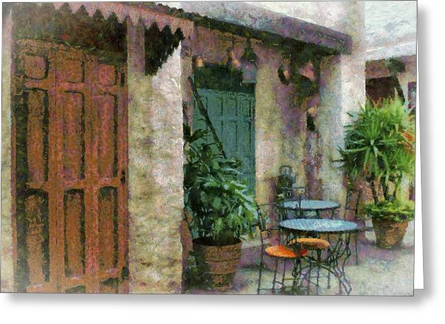 Outside Cafe Greeting Card by Kathy Jennings