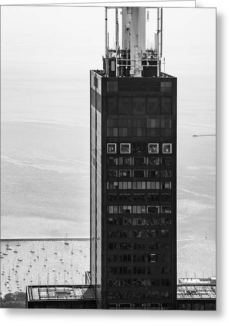 Outside Looking In - Willis Tower Chicago Greeting Card by Adam Romanowicz