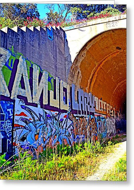 Outside The Abandoned Train Tunnel South Of The Old Train Roundhouse At Bayshore Near San Francisco  Greeting Card by Jim Fitzpatrick