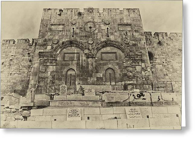 Outside The Eastern Gate Old City Jerusalem Greeting Card by Mark Fuller