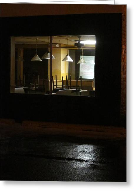 Outside The Edward Hopper Cafe Greeting Card by Guy Ricketts
