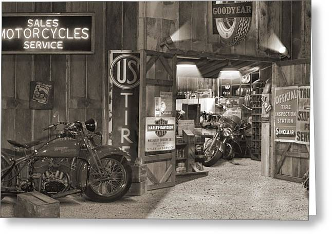 Outside The Old Motorcycle Shop - Spia Greeting Card