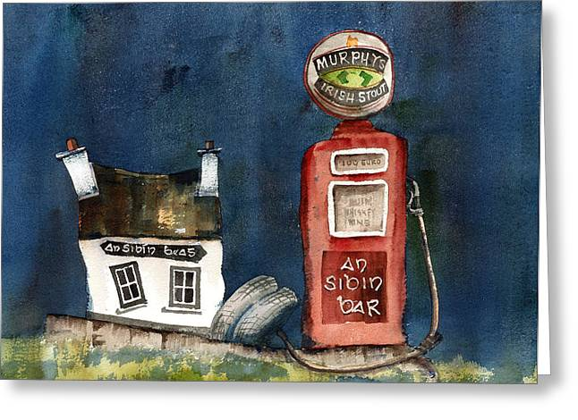 Outside The Sibin Bar Kerry Greeting Card by Val Byrne