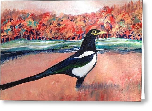 Outstanding In My Field Greeting Card by Priscilla Greenbaum