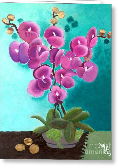 Outstanding Orchids Greeting Card by Margaret Harmon