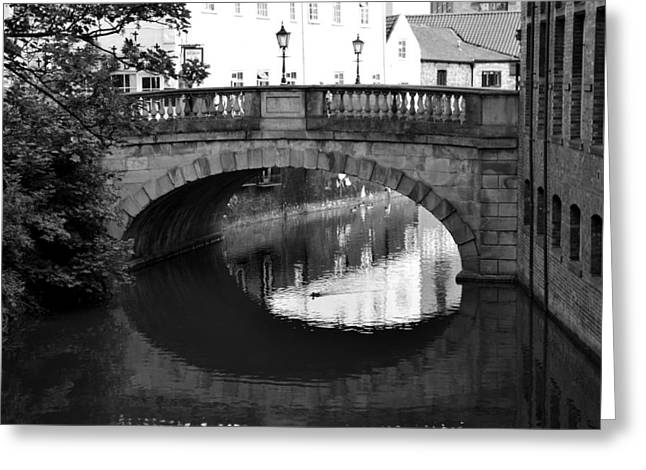Greeting Card featuring the photograph Oval Bridge Over The River Foss York by Scott Lyons