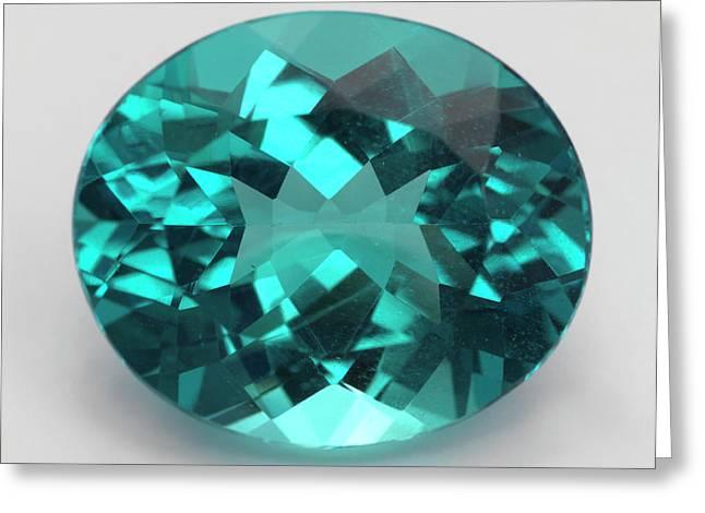 Oval Cut Apatite Gemstone Greeting Card by Dorling Kindersley/uig