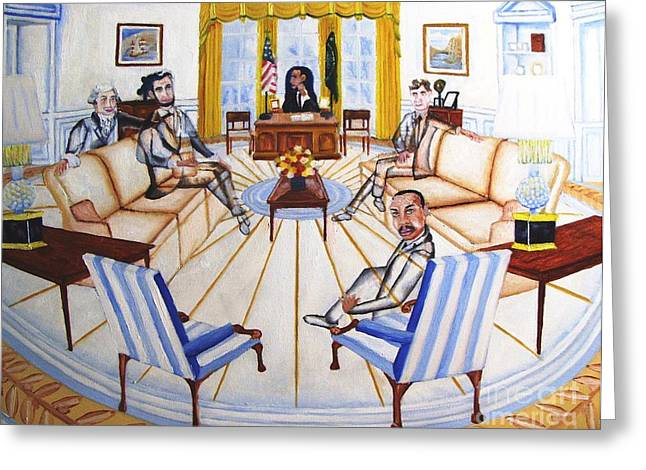 Oval Office Ghost With President Obama  Greeting Card by Kenneth Michur