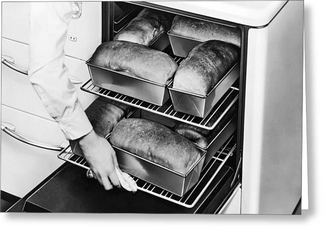 Oven Fresh Warm Bread Greeting Card by Underwood Archives