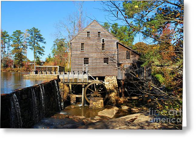 Greeting Card featuring the photograph Over The Dam At Yates Mill by Bob Sample