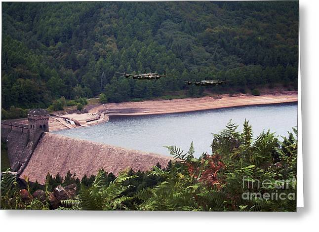 Over The Dam Greeting Card by J Biggadike