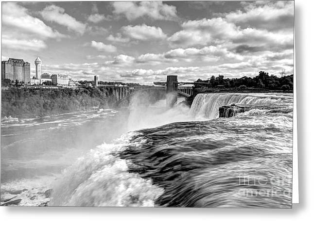 Over The Edge 1 Bw Greeting Card