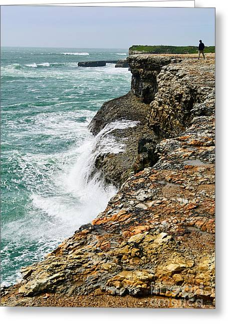 Over The Edge - Coastal Bluffs Of Wilder Ranch State Park In Santa Cruz  Greeting Card by Jamie Pham