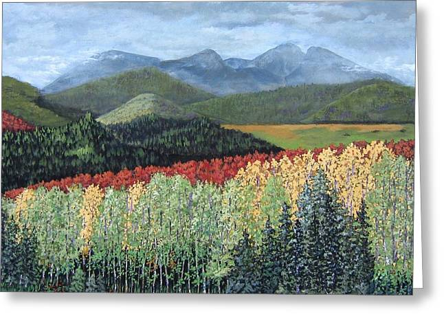 Greeting Card featuring the painting Over The Hills And Through The Woods by Suzanne Theis