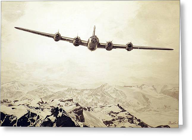 Over The Top - Boeing B-29 Superfortress Greeting Card by Martin Hall